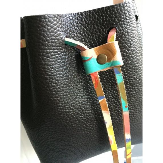 Deri Büzgülü Çanta / Uzun Askılı / Küçük Boy / Kahverengi