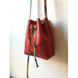 Deri Büzgülü Çanta / Uzun Askılı / Küçük Boy / Kırmızı