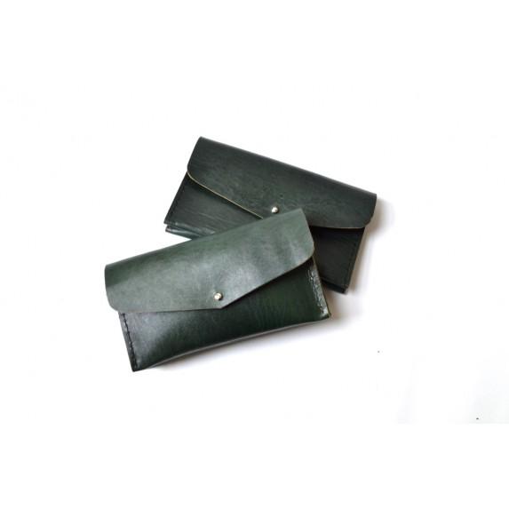 Çift Gözlü, İki Kart Cepli Deri Cüzdan/Tütün Çantası -Yeşil