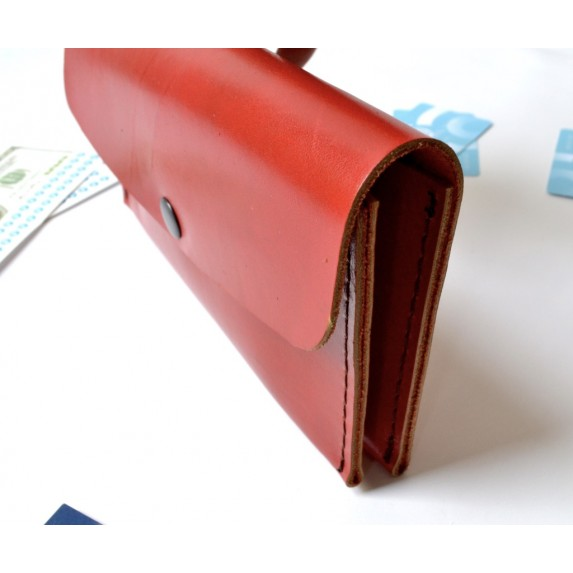 Çift Gözlü, İki Kart Cepli Deri Cüzdan/Tütün Çantası -Kırmızı