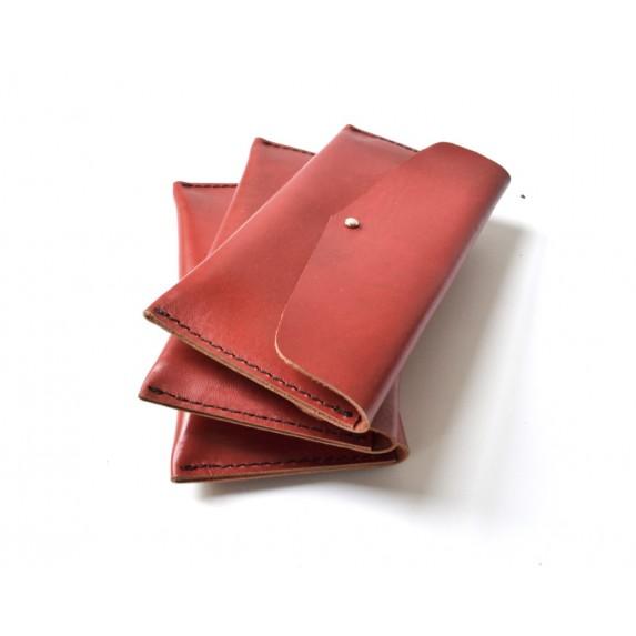 Tek Gözlü, İki Kart Cepli Deri Cüzdan / Tütün Çantası - Kırmızı