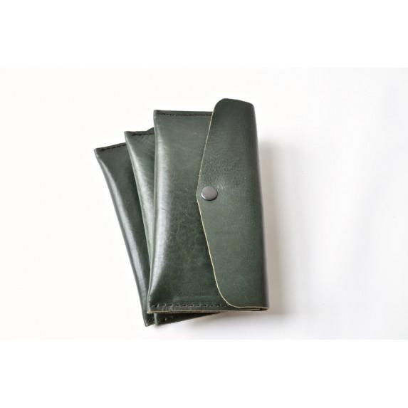 Tek Gözlü, İki Kart Cepli Deri Cüzdan / Tütün Çantası - Yeşil