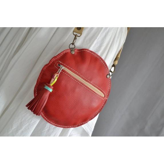 Deri Daire Fermuarlı Çanta / Dönüştürülebilir Çapraz Çanta / Kırmızı