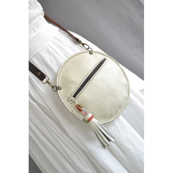 Deri Daire Fermuarlı Çanta / Dönüştürülebilir Çapraz Çanta / Krem-Beyaz