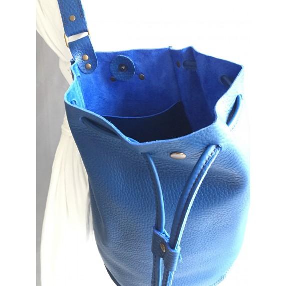 Saks Mavi Deri Sırt Çantası / Tek Askılı Bucket Sırt Çantası
