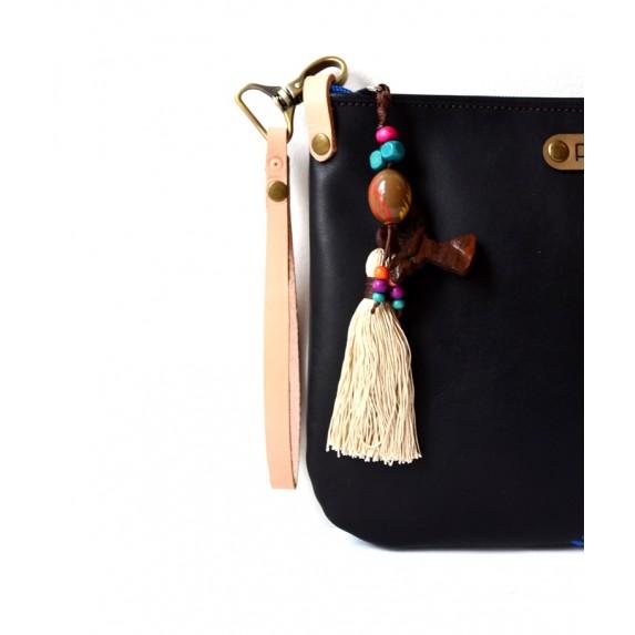Siyah Deri El Çantası / Fermuarlı Deri Clutch / Orijinal El Boyaması Deri Çanta