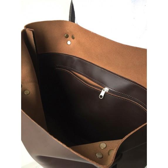 Kahverengi Deri Omuz Çantası / Deri Shopper Çanta