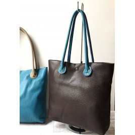 Mavi Askılı Kahverengi Deri Shopper Çanta / İki Renkli Geniş Tote