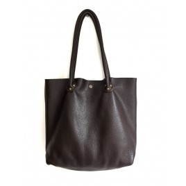 Deri Shopper Çanta / Kahverengi Yumuşak Deri Büyük Tote Çanta
