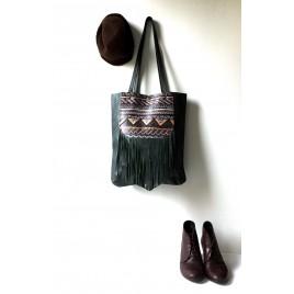 Deri Orijinal El Boyaması Püsküllü Shopper Çanta