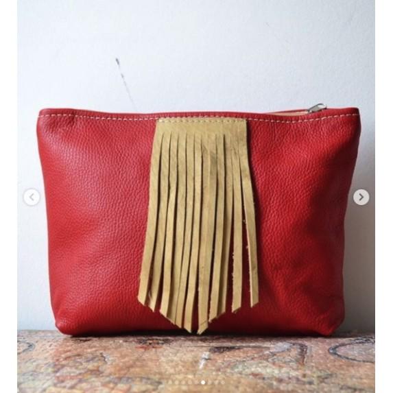Kırmızı Deri Fermuarlı Çanta / Püsküllü Orta Boy Deri Çanta