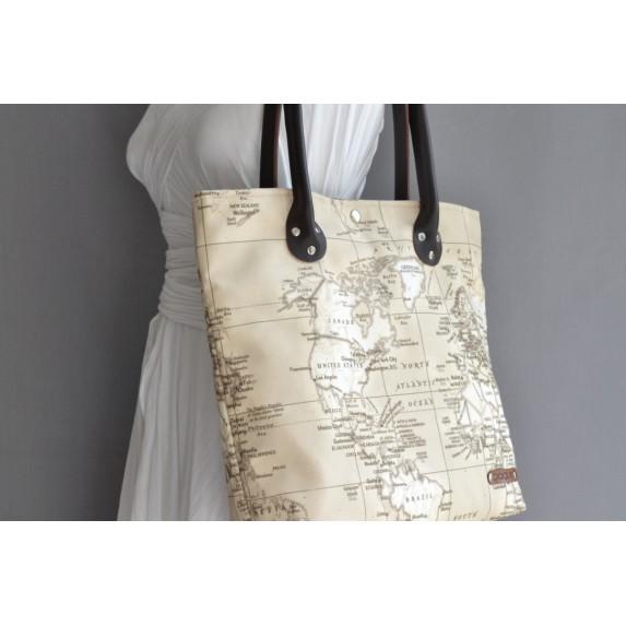 Harita Desenli Kanvas Omuz Çantası, Deri Askılı Kanvas Shopper Çanta, Plaj Çantası
