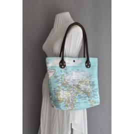 Harita Desenli Kanvas Omuz Çantası, Deri Askılı Kanvas Shopper Çanta, Plaj Çantası Turkuaz