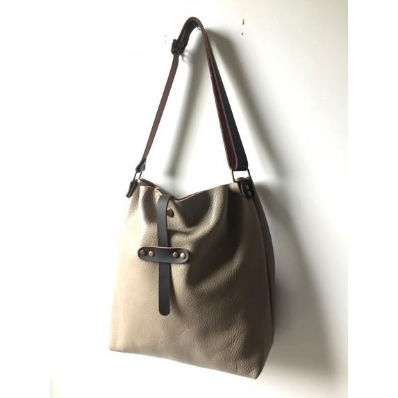 Vizon Bej Deri Çanta, Ayarlanabilir Askılı Deri Shopper