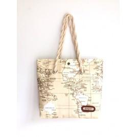 Harita Desenli Kumaş Çanta, Plaj Çantası