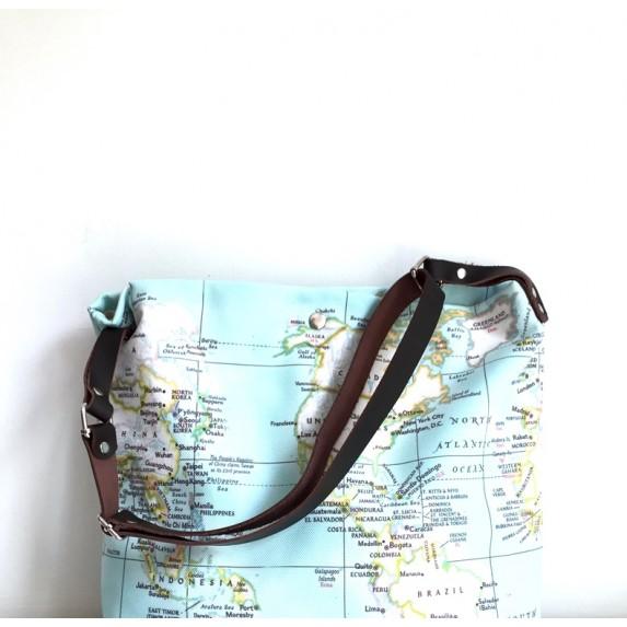 Harita Baskılı Kumaş Çanta