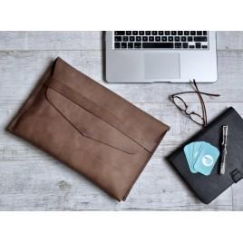 Crazy Horse Laptop Kılıfı / Deri Laptop Çantası / MacBook Air Kılıfı / Kahve