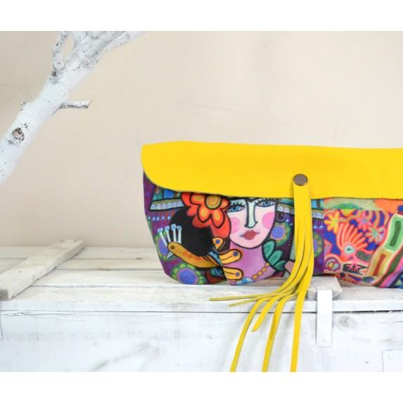 Frida Kahlo Desenli Renkli El Çantası / Deri ve Kumaş Garnili Clutch Çanta