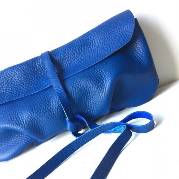 Gece Mavisi Deri El Çantası Clutch / Yumuşak Deri Saks Mavi El Çantası