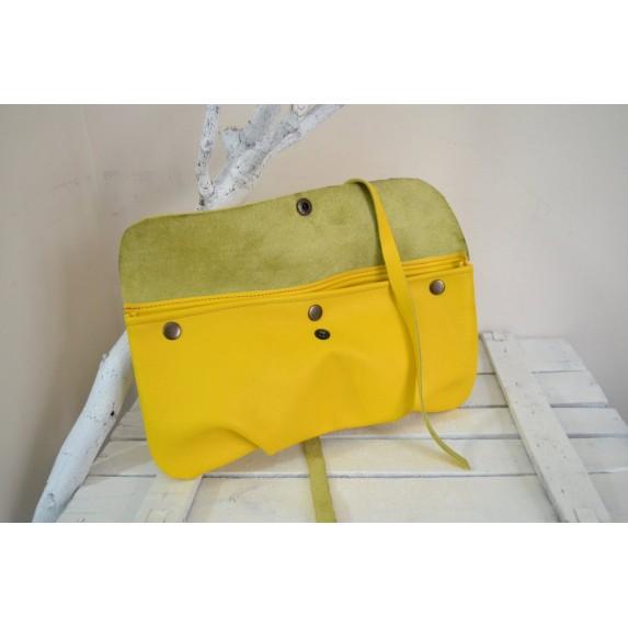 Sarı Deri El Çantası Clutch / Yumuşak Deri Sarı Çanta