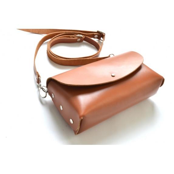 Deri Küçük Çanta -Dikişsiz Model- Taba