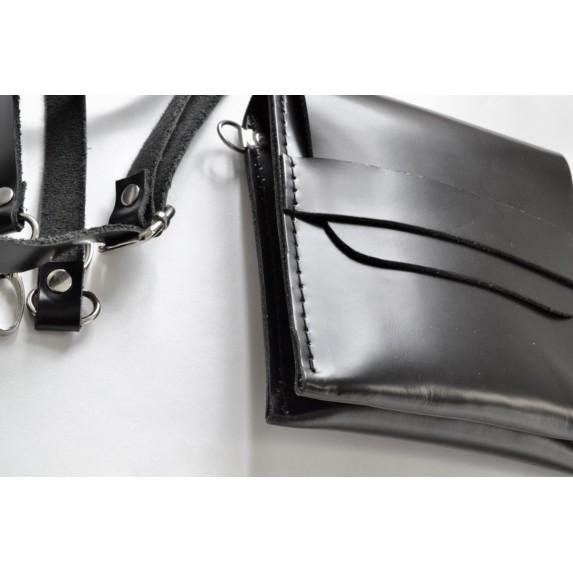 Kapaklı Vaketa Deri Küçük Çanta, Çift Gözlü - Siyah