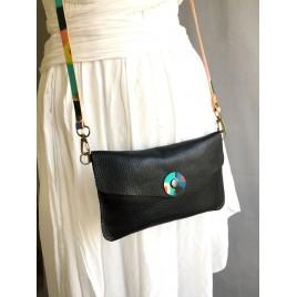 Kapaklı Deri Uzun Askılı Çanta / Siyah Deri Bel Çantası