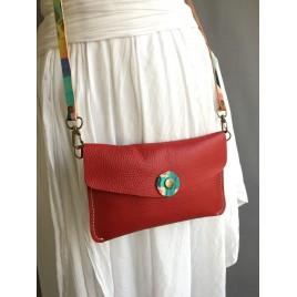 Kapaklı Deri Uzun Askılı Çanta / Kırmızı Deri Bel Çantası