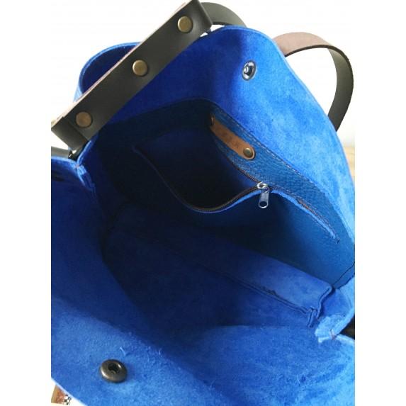 Saks Mavi Deri Çanta, Ayarlanabilir Askılı Deri Tote Çanta
