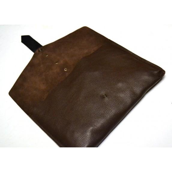Kahverengi Zarf Model Deri Portföy Çanta / El Boyaması Detaylı Kahverengi Tablet Kılıfı, Clutch Çanta