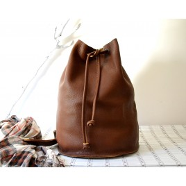 Deri Bucket Sırt Çantası / Leather City Backpack