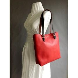 Askılı Deri Omuz Çantası / Kırmızı Deri Shopper, Tote