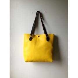 Askılı Deri Omuz Çantası / Sarı Deri Shopper, Tote