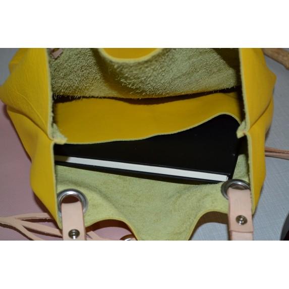 Sarı Deri Askılı Çanta / Deri Shopper