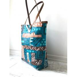 Orijinal El Boyaması Kanvas Tote Çanta Deri Askılı / Canvas Shopper El Boyaması