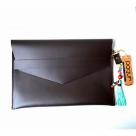 Kahverengi Deri Portföy Çanta, Etnik Görünümlü Zarf Çanta Tablet Kılıfı