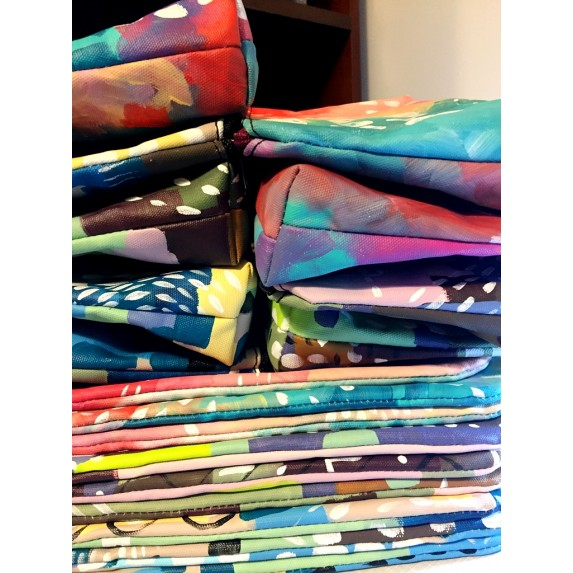 Fermuarlı Kanvas Orijinal El Boyaması Çapraz Askılı Çanta / Özel Tasarım Çanta
