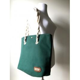 Koyu Yeşil Kanvas Kumaş Omuz Çantası / Plaj Çantası / Yıkanabilir Shopper Çanta