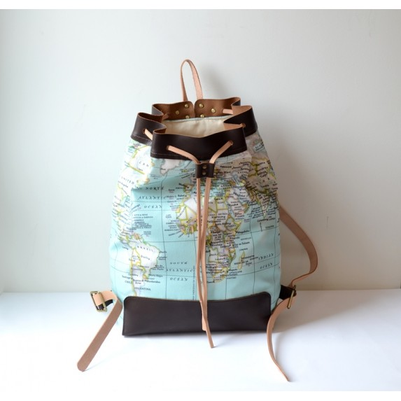 Dünya Haritası Desenli Kanvas ve Deri Sırt Çantası / Seyahat Çantası