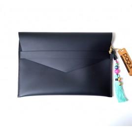 Siyah Deri Portföy Çanta, Etnik Görünümlü Zarf Çanta Tablet Kılıfı