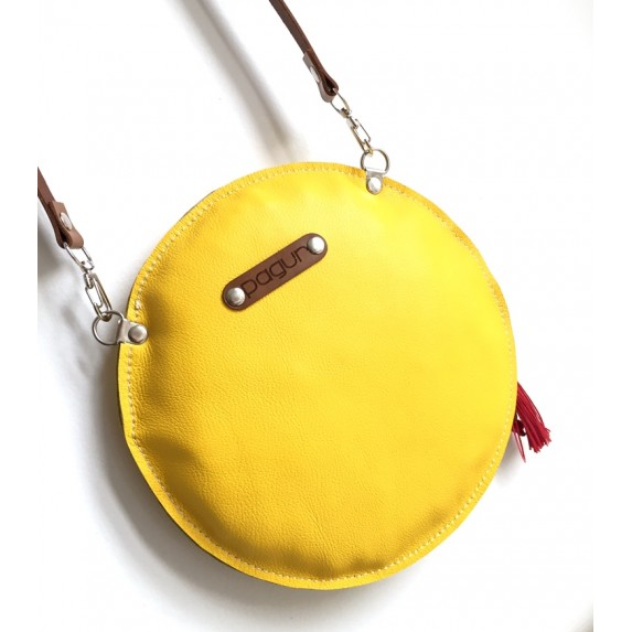 Deri Yuvarlak Çanta / Dönüştürülebilir Çapraz Çanta-El Çantası
